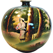 Japanese Royal Nippon Round Vase w Hand Painted Scene of Man in the Woods Trees c 1910