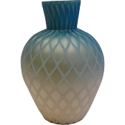 English Shaded Blue Satin Art Glass Vase Diamond Air Trap Cased c 1885
