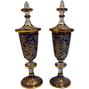 Bohemian Large Pair Crystal Lidded Art Glass Urns Blue to Clear Flowers & Leaves c 1950 - 1975