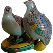 Japanese Kutani Figural Group Two Quail Birds on Corn c 1900