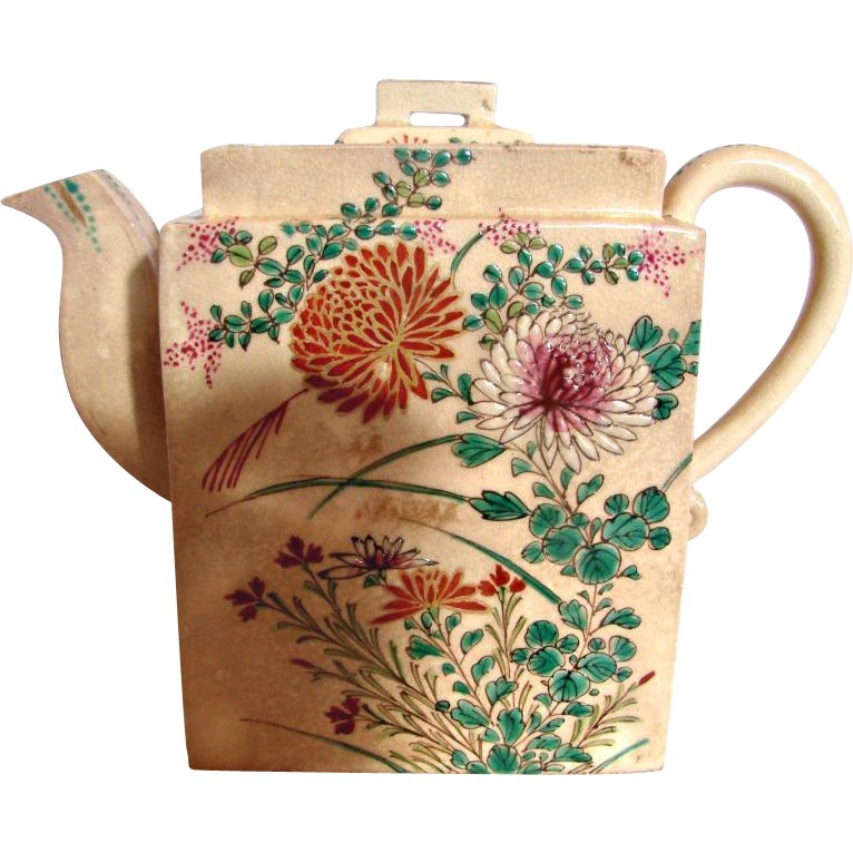 Japanese Satsuma Small Rectangle Teapot Flowers Insects Meiji Period Signed Kinkozan c 1880