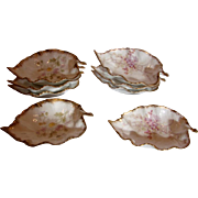 French Limoges Set 8 Small Leaf Dishes 2 Different Floral Patterns c 1896 - 1900