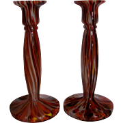 Bohemian Czech Kralik Pair Art Glass Candlestick Candle Holders Signed c 1930