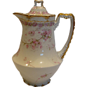 French Haviland Limoges Chocolate Pot Pink Border Roses w Wild Pink Roses c 1894 - 1930