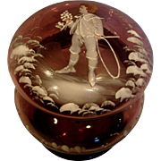 Bohemian Czech Purple Amethyst Art Glass Box Mary Gregory Decoration Boy Colored Head Hands w Hoop c 1885