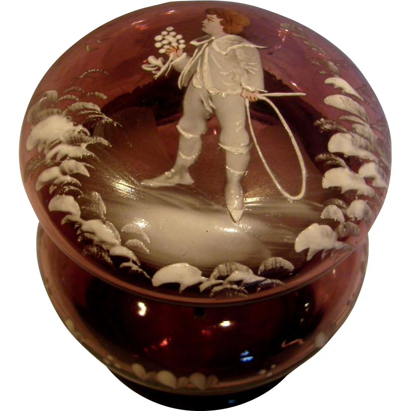 Bohemian Czech Purple Amethyst Art Glass Box Mary Gregory Decoration Boy Colored Head Hands w Hoop c 1885