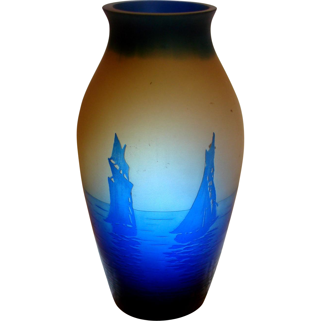 """French Daum Cameo Art Glass 5"""" Small Vase Sailing Ships Blue Over Yellow-Brown c 1920"""