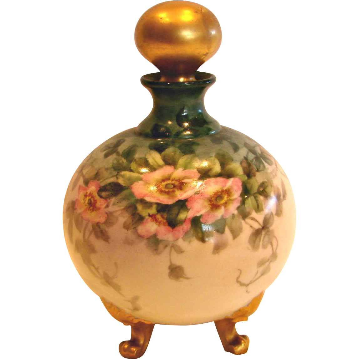 French Limoges Hand Painted Footed Perfume Cologne Bottle Wild Pink Roses Gold Stopper c 1894 - 1930