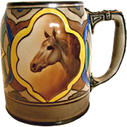 Japanese Nippon Hand Painted Mug w Horse Decoration c 1910