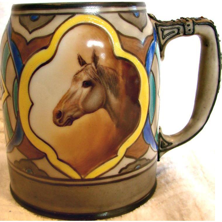 Japanese Nippon Hand Painted Mug w Horse Decoration c 1910