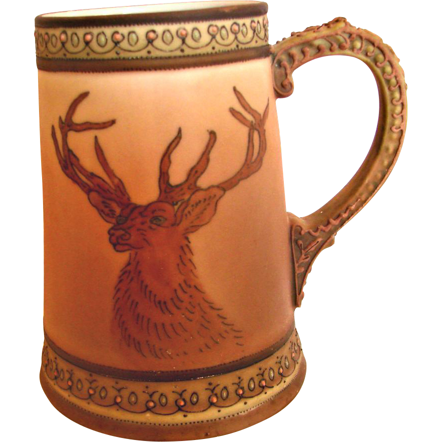 Japanese Nippon Hand Painted Mug w Elk Deer Decoration c 1910
