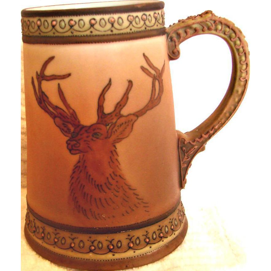Japanese Nippon Hand Painted Mug w Elk Deer Decoration c 1910