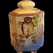 Japanese Nippon Hand Painted Footed Hexagon Humidor Jar w Owl c 1910