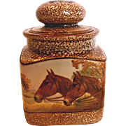 Japanese Nippon Hand Painted Square Humidor Jar Lid w Horse Scene c 1910