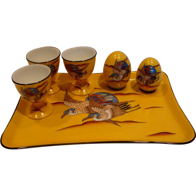 French Limoges Studio Hand Painted Signed Breakfast Set Tray 3 Eggcups Shakers Yellow w Flying Birds c 1930