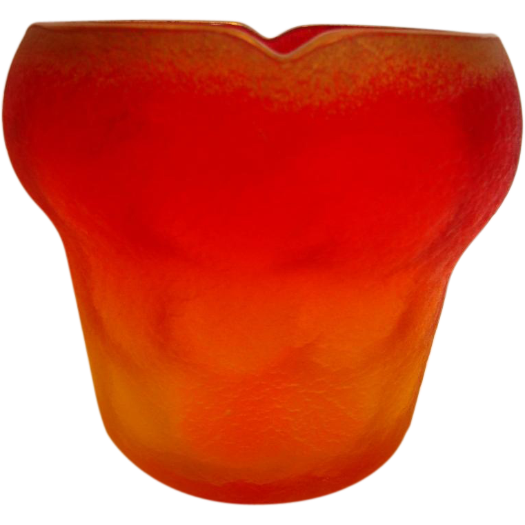 Bohemian Art Glass Vase Amberina Interior Thumbprint w Ice Chip Exterior c 1890