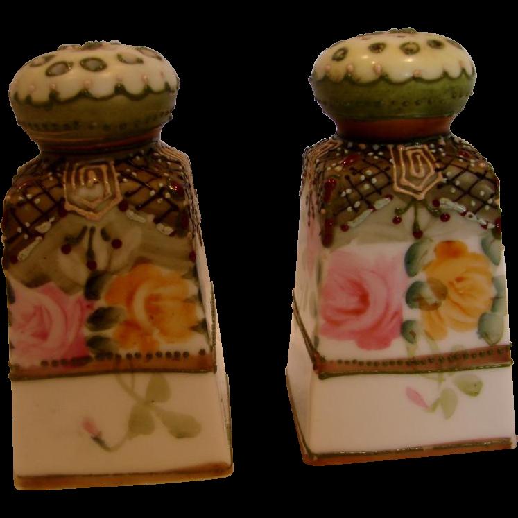Japanese Noritake Nippon Shakers Hand Painted Roses c 1910