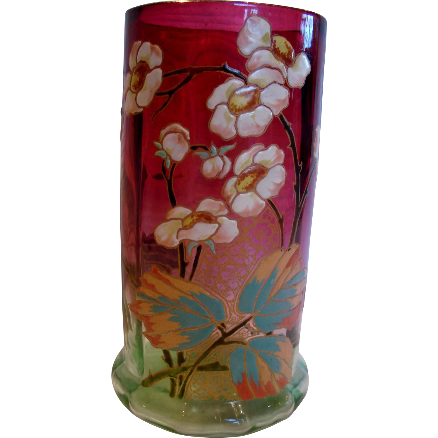 "French Legras Rubena (Rubina) Verde Art Glass 8"" Vase Paneled Hand Enameled Green-to-Red c 1885 - 1890"