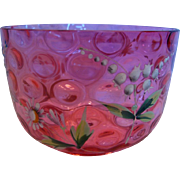 Bohemian Cranberry Art Glass Bowl Thumbprint Enameled Lilies Valley Flowers c 1890 - 1910