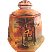 Japanese Nippon Hexagon Humidor Jar Lid Hand Painted Sunset Rural Scene c 1910