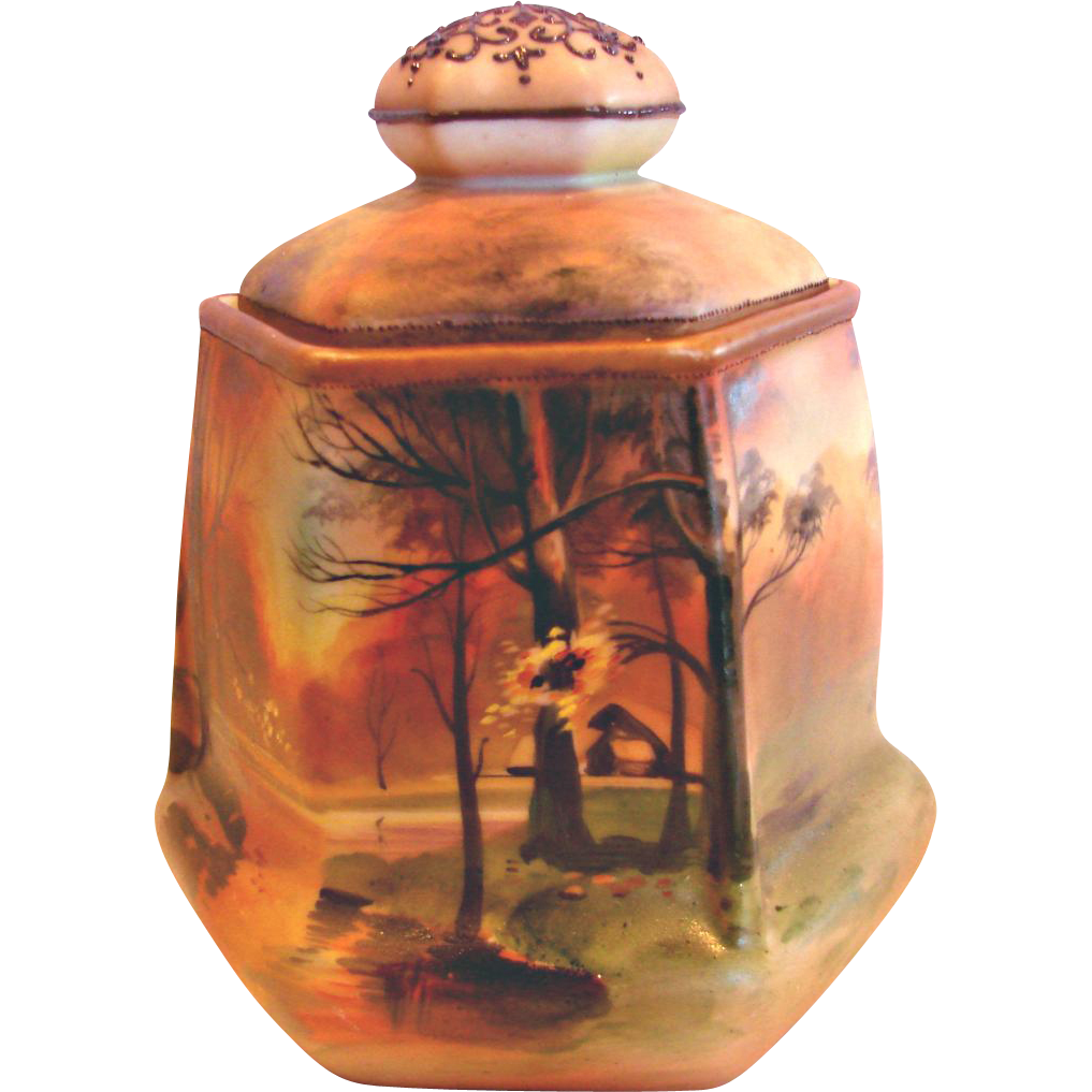 Japanese Nippon Hexagon Humidor Hand Painted Sunset Rural Scene c 1910