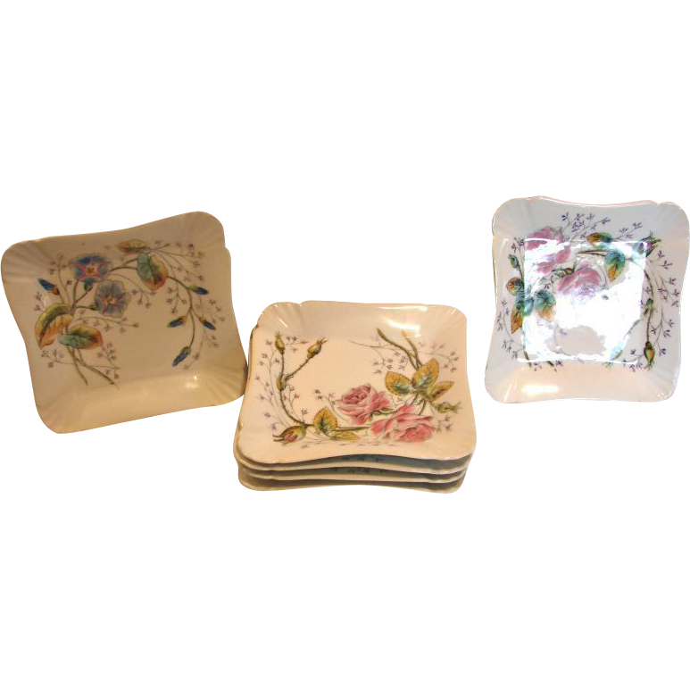 "French Set 6 Square 7.5"" Plates Roses & Morning Glories c 1860"