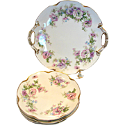 French Haviland Limoges Cake Dessert Set Cake Platter 4 Coupe Plates Large Pink & Lavender Flowers c 1894 - 1930