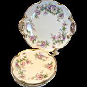 French Haviland Limoges Cake Dessert Set Cake Platter 4 Coupe Plates Large Pink & Lavender Flowers c 1894 - 1930