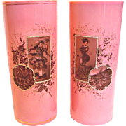 """French Pair 11"""" Art Glass Vases Pink & White Opaline Hand Painted Women Birds c 1880"""