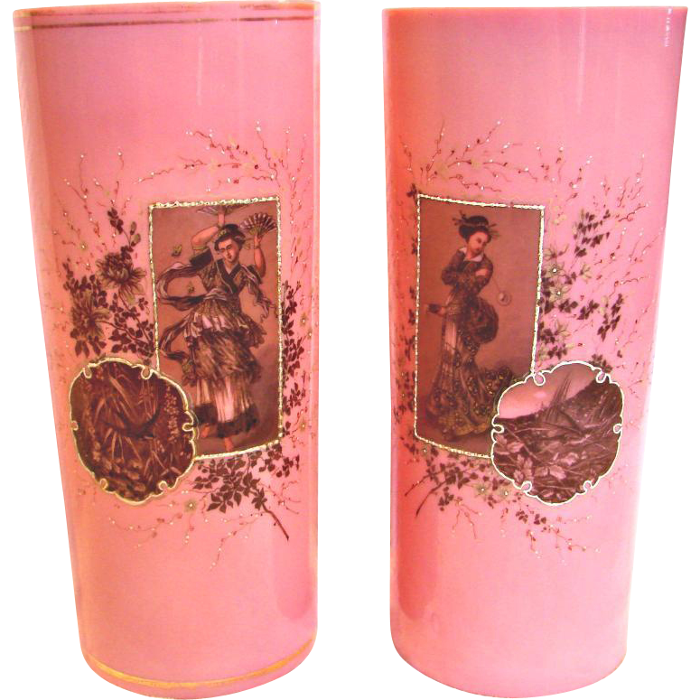"French Pair 11"" Art Glass Vases Pink & White Opaline Hand Painted Women Birds c 1880"