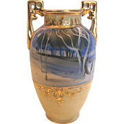 """Japanese Nippon 6"""" Small Vase Hand Painted Winter Rural Scene in Shades of Blue c 1910"""