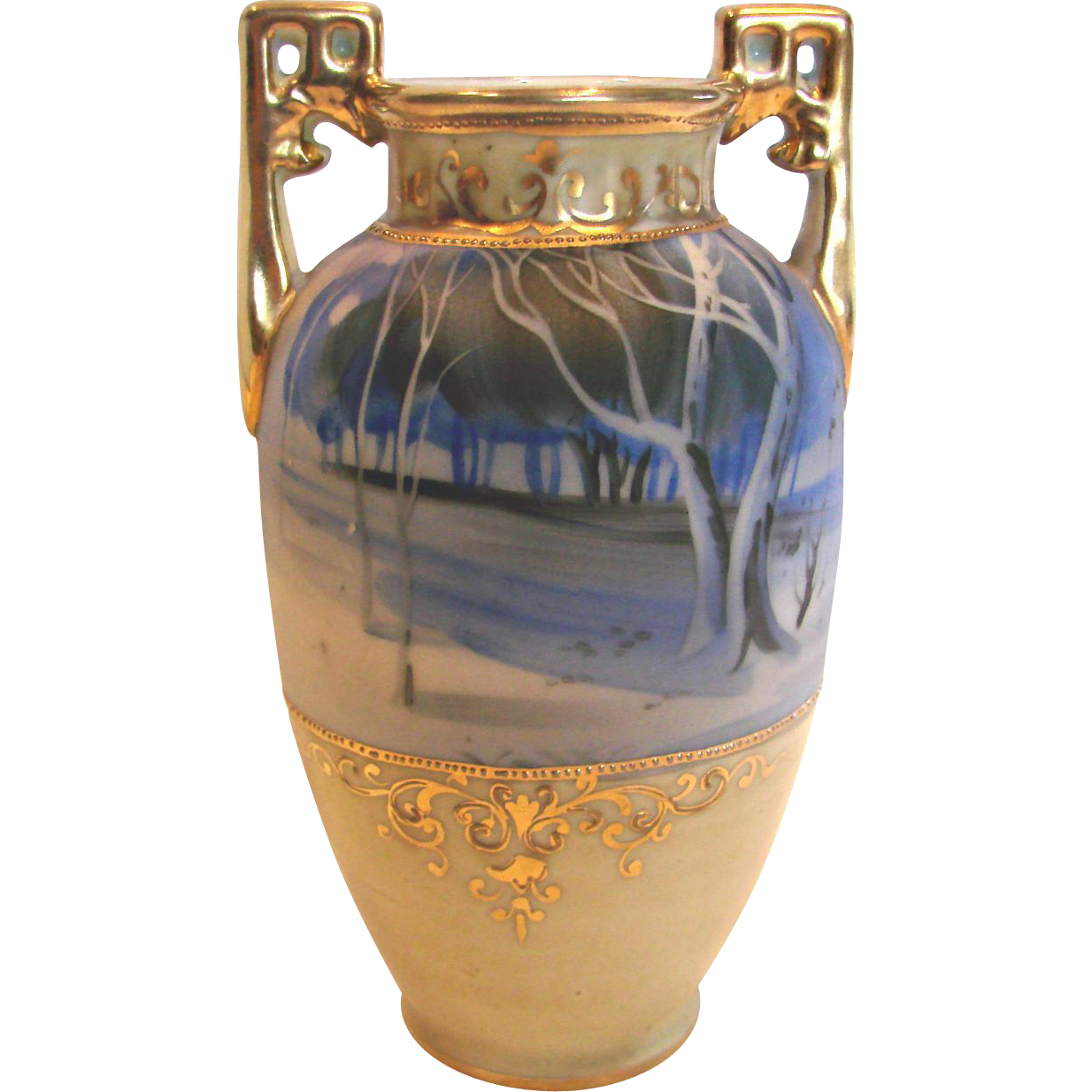 "Japanese Nippon 6"" Small Vase Hand Painted Winter Rural Scene in Shades of Blue c 1910"