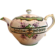 Japanese Hand Painted Teapot Purple Violets Flowers Delicate Porcelain c 1900