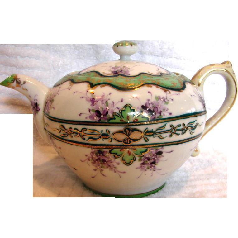 Japanese Hand Painted Teapot Purple Violets Flowers Delicate Porcelain c 1900