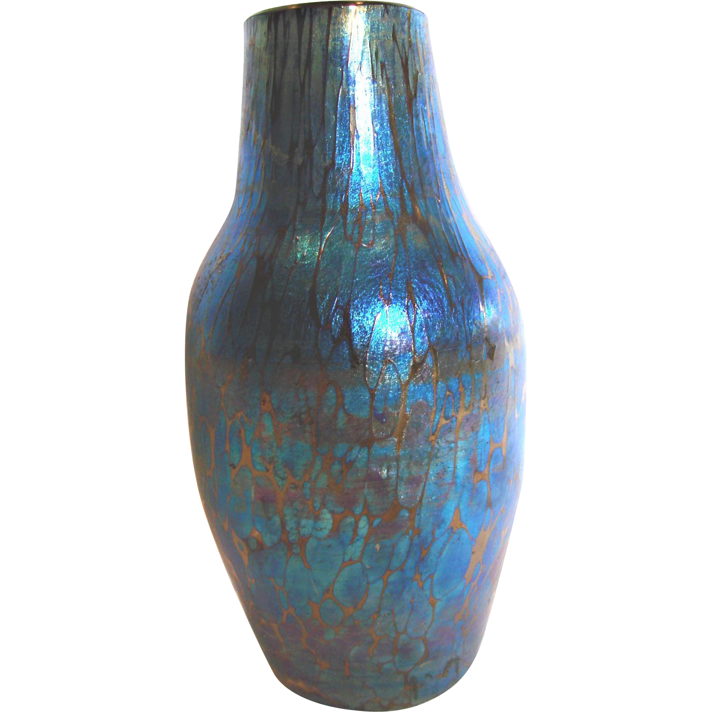 Bohemian Loetz Art Glass Vase Vivid Blue Black Cased Iridescent c 1900