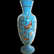"""Bohemian Blue Opaline 14.75"""" Vase w Enameled Bird Butterfly Flowers c 1890"""
