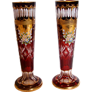 "Bohemian Pair Slender 7.75"" Art Glass Vases Crystal Ruby Red Cut to Clear c 1900"