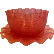 American Sandwich Boston Opalescent Threaded Art Glass Bowl w Saucer Cranberry Threads Over Clear c 1880