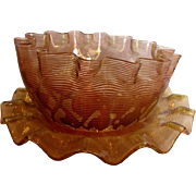 English Diamond Quilted Threaded Art Glass Bowl & Saucer Amberina Threads Over Cranberry c 1880