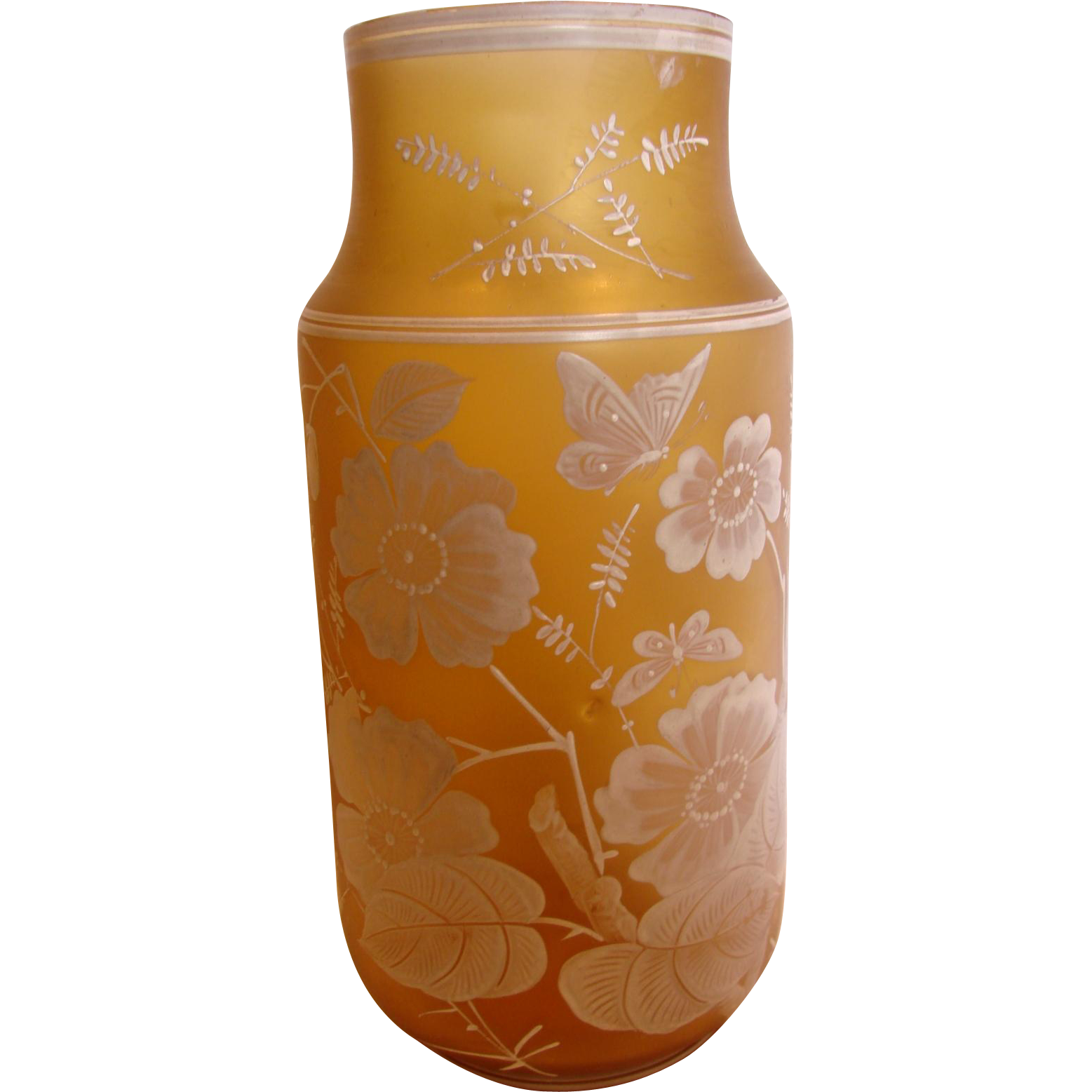 "Bohemian 10"" Art Glass Vase Honey Amber Color Hand Enameled Butterflies Flowers Leaves c 1890"
