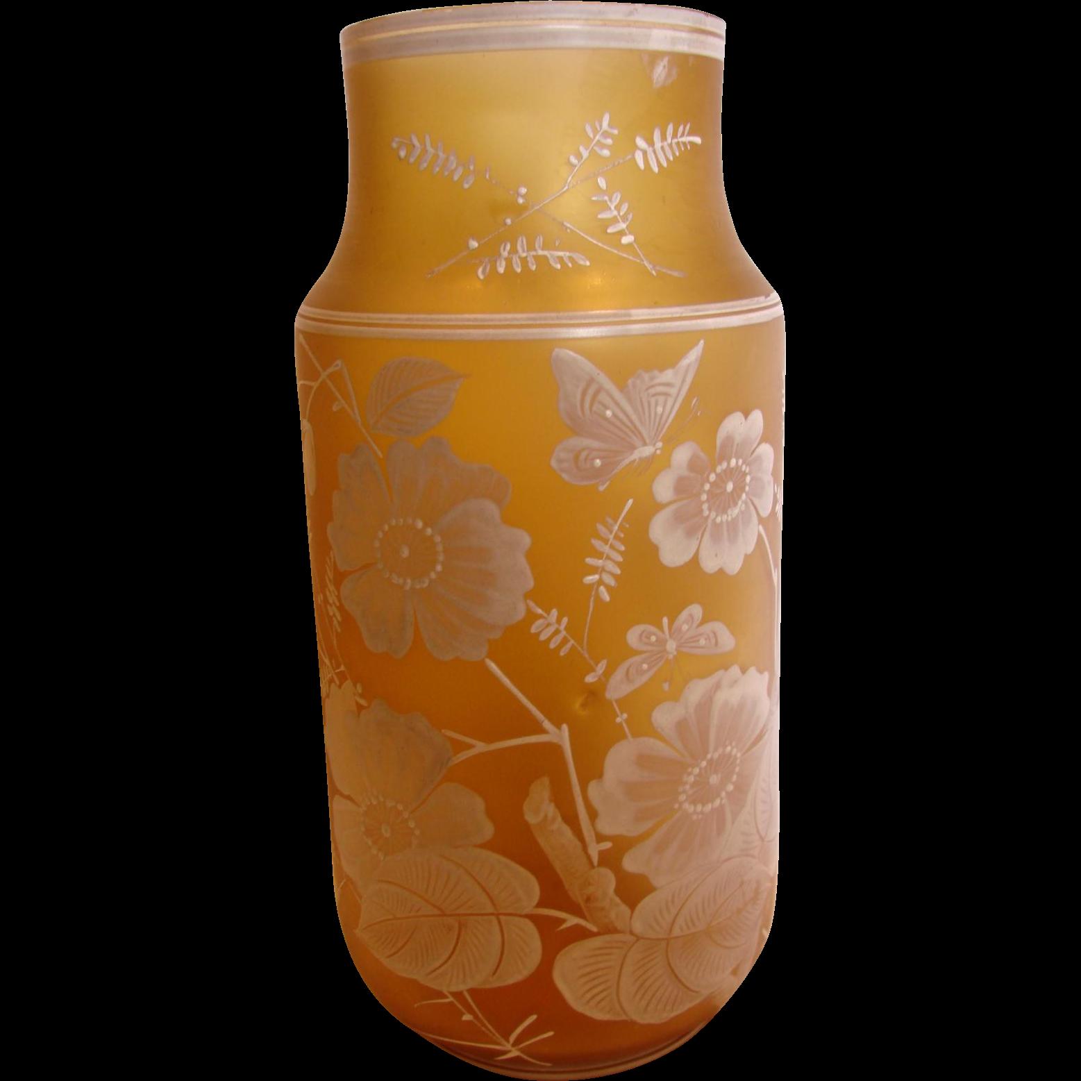 """Bohemian 10"""" Art Glass Vase Honey Amber Color Hand Enameled Butterflies Flowers Leaves c 1890"""