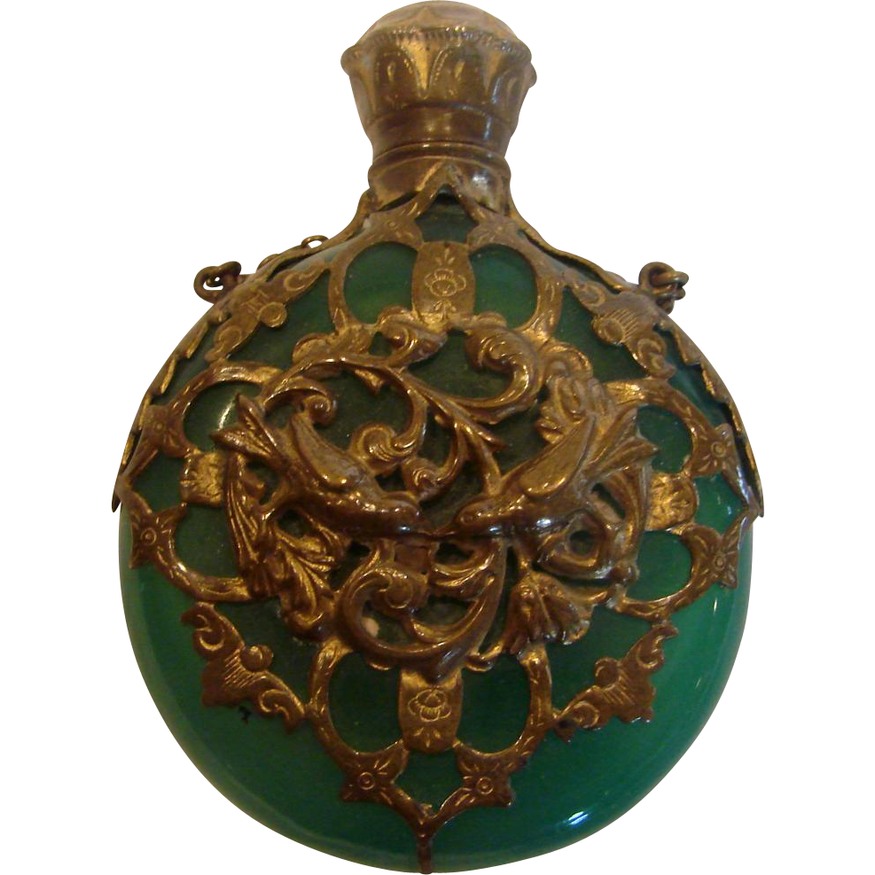 French Chatelaine Scent Perfume Bottle Green Opaline Art Glass w Bronze Metal Lovebird Filigree c 1860
