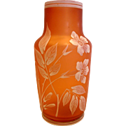 "Bohemian 7"" Art Glass Vase Satin Honey-Orange White Flowers Foliage c 1890"