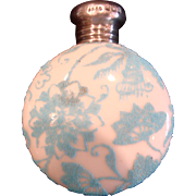 English Small White Opal Art Glass Scent Perfume Bottle Lay Down w Blue Coralene Beading & Sterling Hallmarked Top c 1895