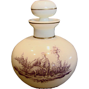 French White Opaline Art Glass Scent Perfume Bottle w Purple Hand Painted Scene of Lady w Dog c 1890