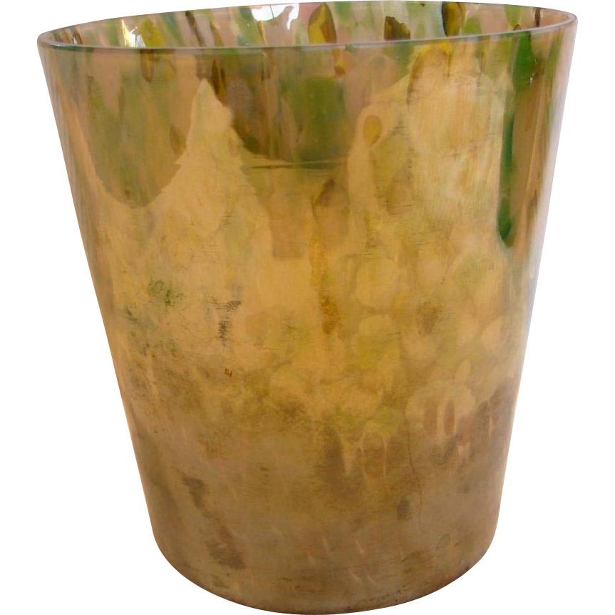"Bohemian Czech Kralik 6"" Art Glass Bucket Vase Iridescent Mottled Spatter Colors Signed c 1930"