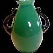 "Bohemian Czech Kralik 8.5"" Art Glass Vase Green Opaline w Handles Signed c 1920"