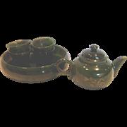 Chinese Miniature Tea Set Nephrite Alaskan Jade Stone Tiny Intaglio Carved Decorated Teapot w 4 Cups & Tray c 1910