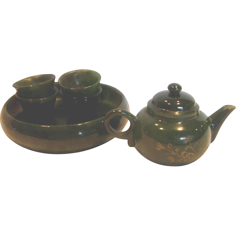Chinese Miniature Tea Set Nephrite Alaskan Jade Stone Tiny Intaglio Carved Decorated Teapot w 4 Cups & Tray c 1910