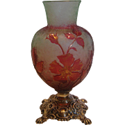 French Baccarat Small Crystal Cameo Roses Art Glass Vase Sterling Base Cranberry Pink Over Etched Green c 1900